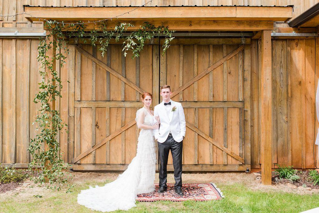 Rustic wedding ceremony at barn doors Wedding catering