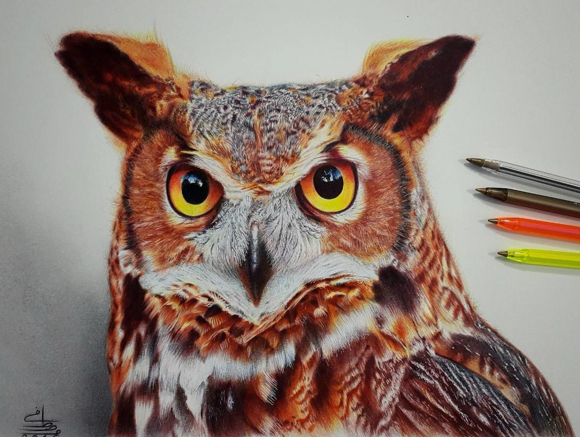 how to draw a realistic owl easy
