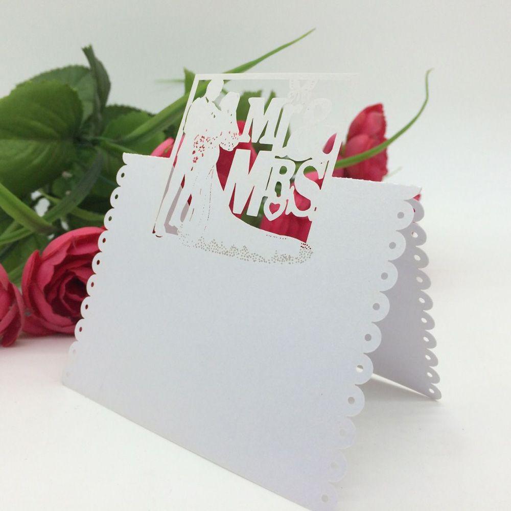 100pcs/set Laser Cut Bride & Groom Name Card Wedding Celebration ...