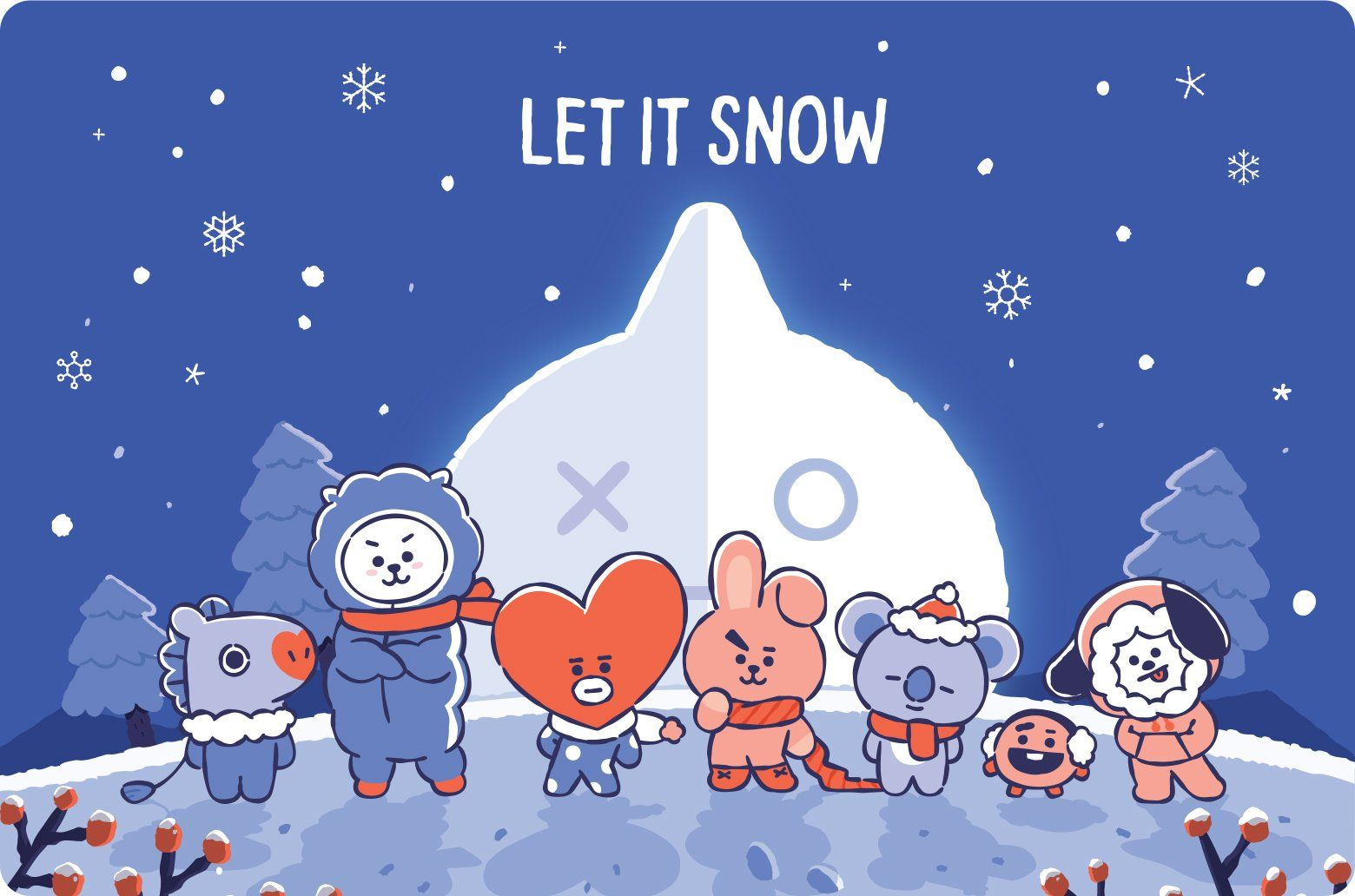Merry Christmas In Advance From Me On Behalf Of Bt21 Merry Christmas Wallpaper Bts Christmas Winter Wallpaper