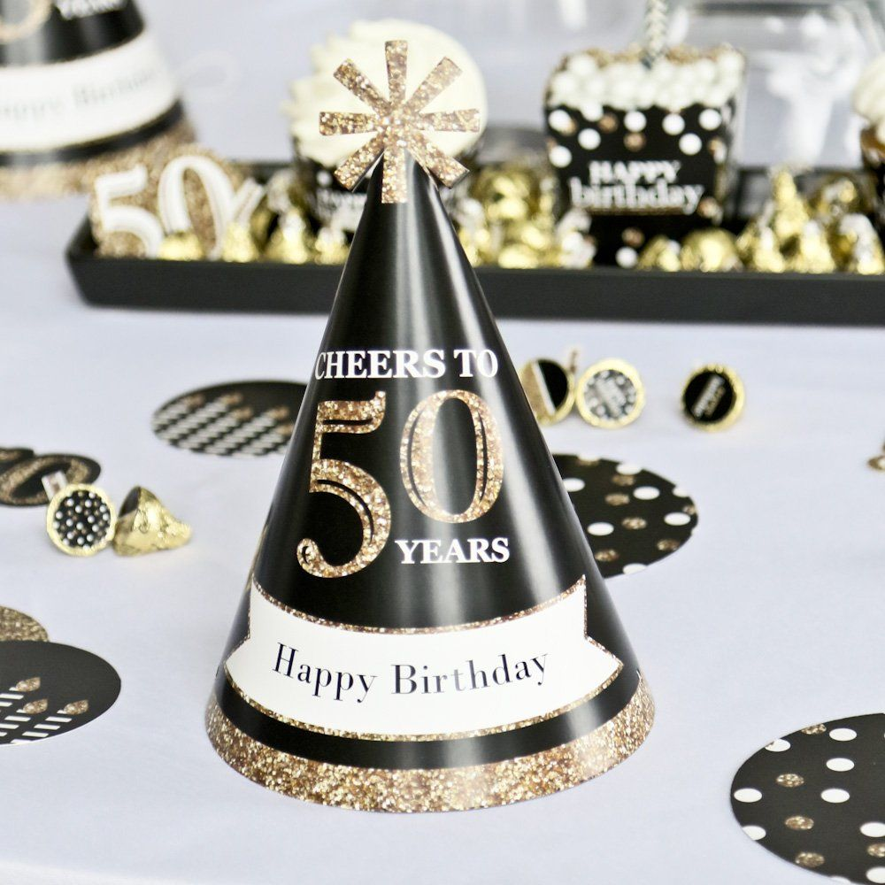 Custom adult 50th birthday gold personalized cone birthday