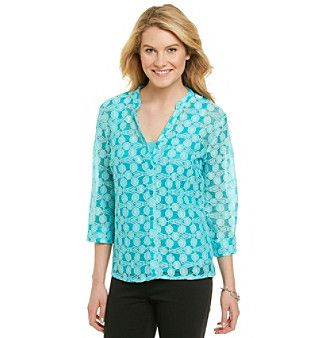 Notations® Madrian Y-Neck Solid Crochet Layered Look Top at www.bonton.com