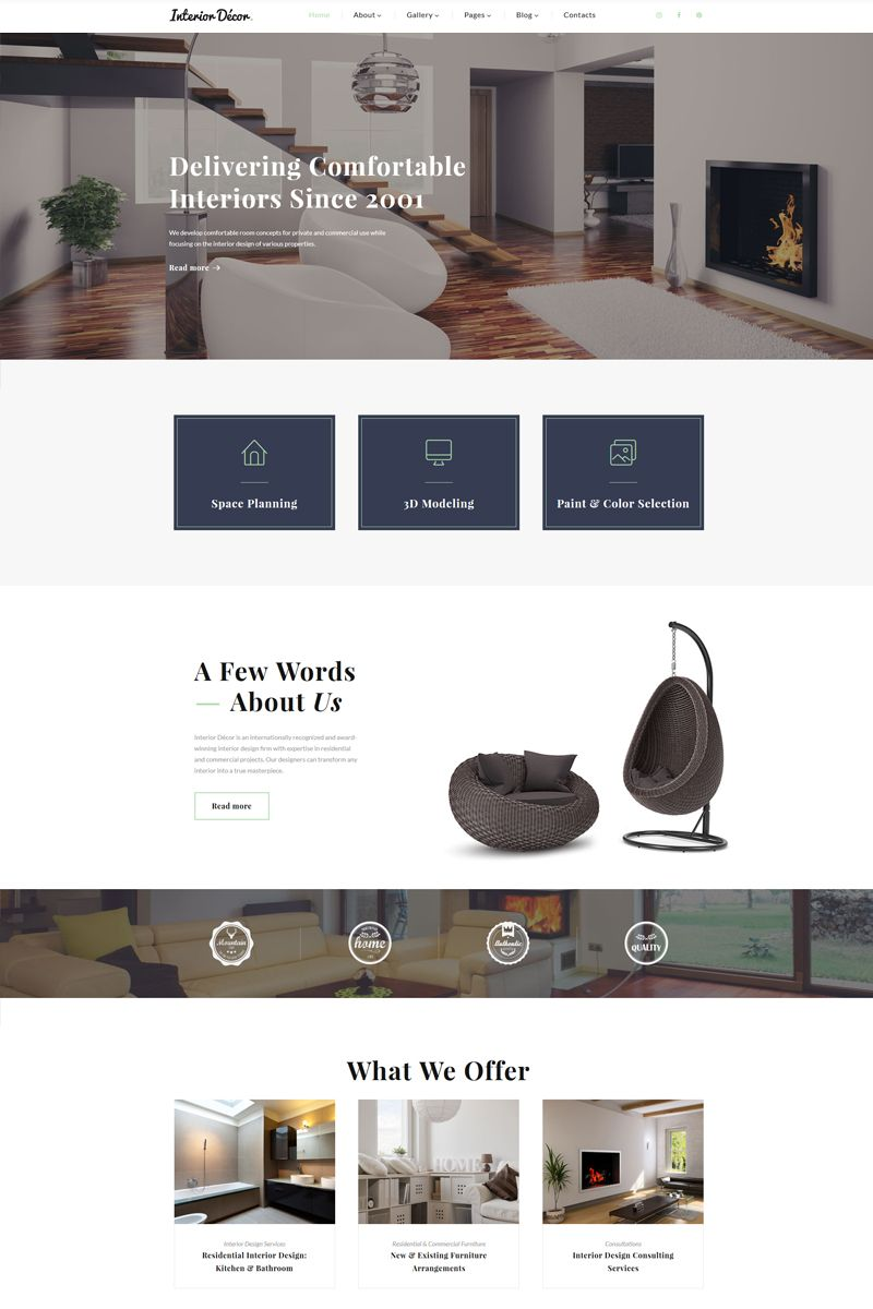 A Fully Responsive Interior Design Multipage Template With Modern Look,  Stylish Design, And User Friendly Interface.