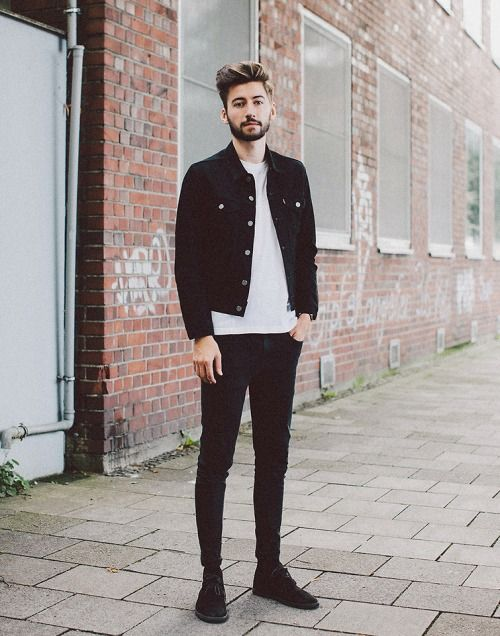 Suede Black Dedert Boots Slim Black Jeans White Tee And Black Levi Denim Jacket Mens Fashion Denim Denim Jacket Men Outfit Mens Street Style