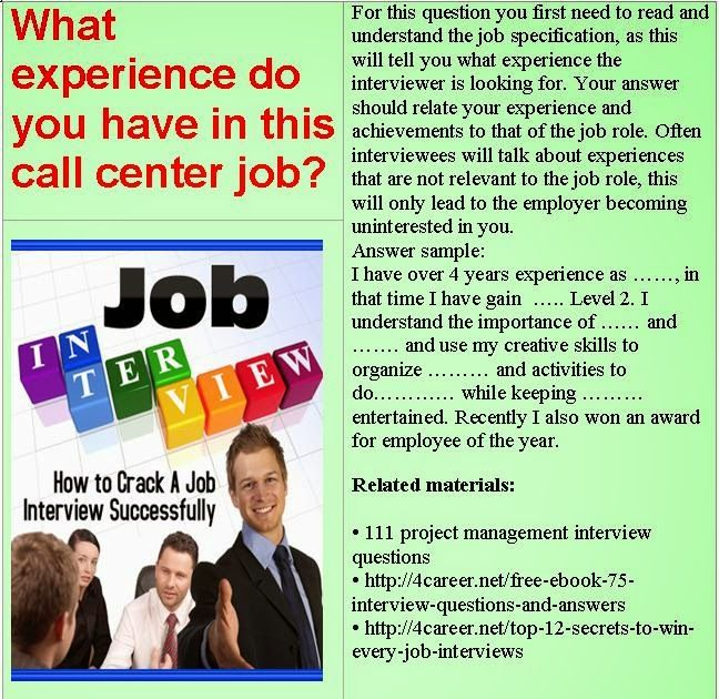 Related materials 51 call center interview questions Ebook - call center supervisor