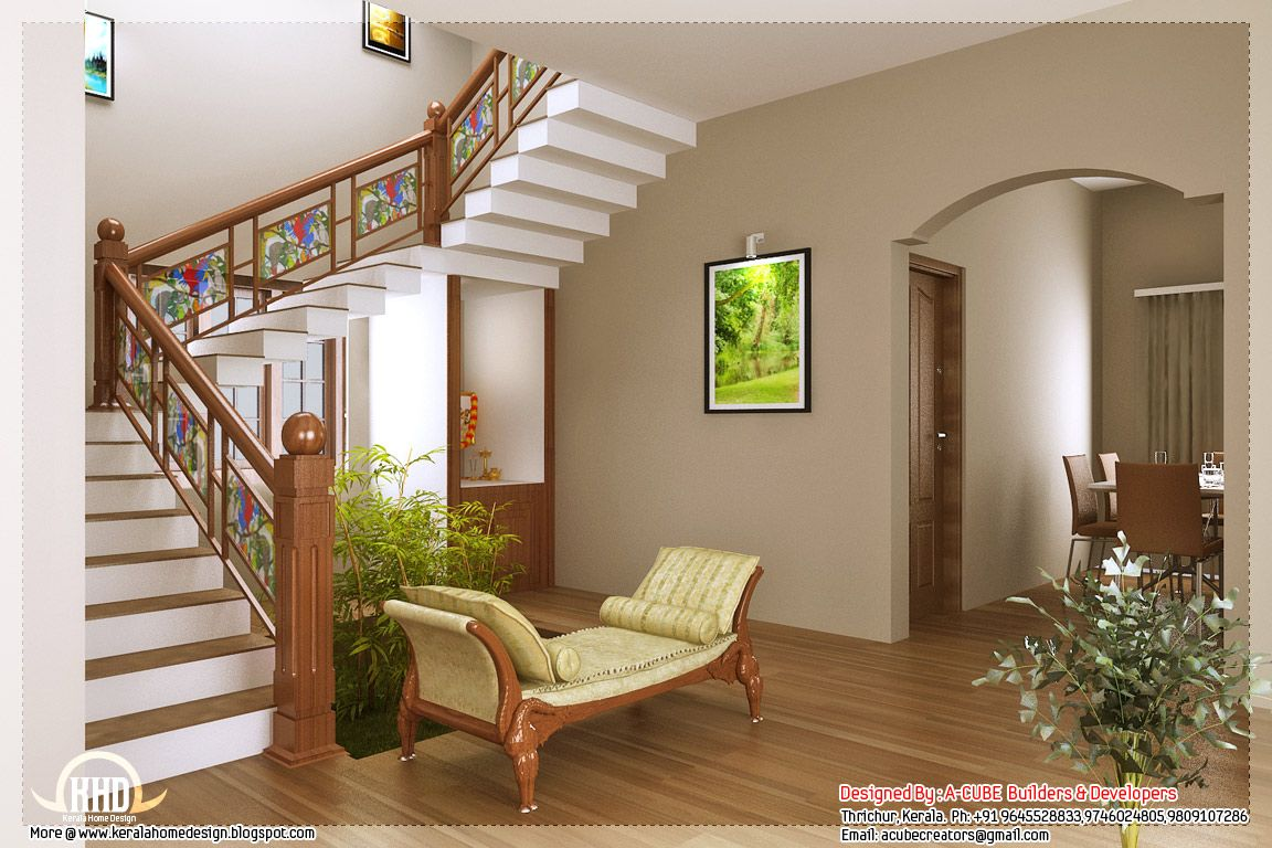Kerala home design and floor plans like the stained glass look on the stairs home designs - Interior design for small space house plan ...