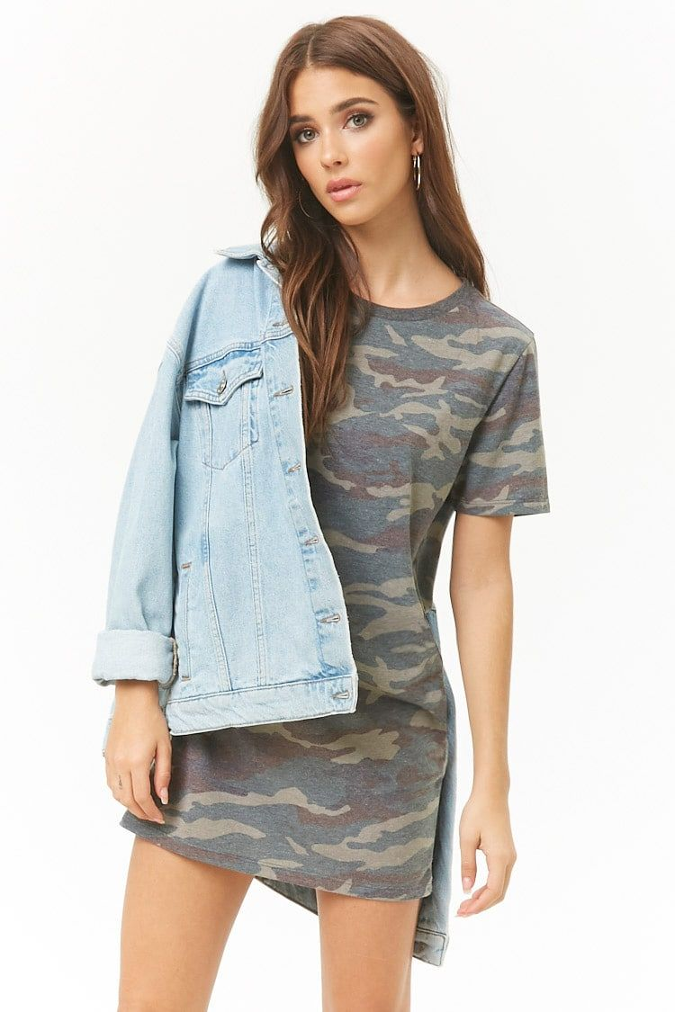 9d45064c0426e Camo Print T-Shirt Dress | Dresses | Camo print, T shirt, Knit dress