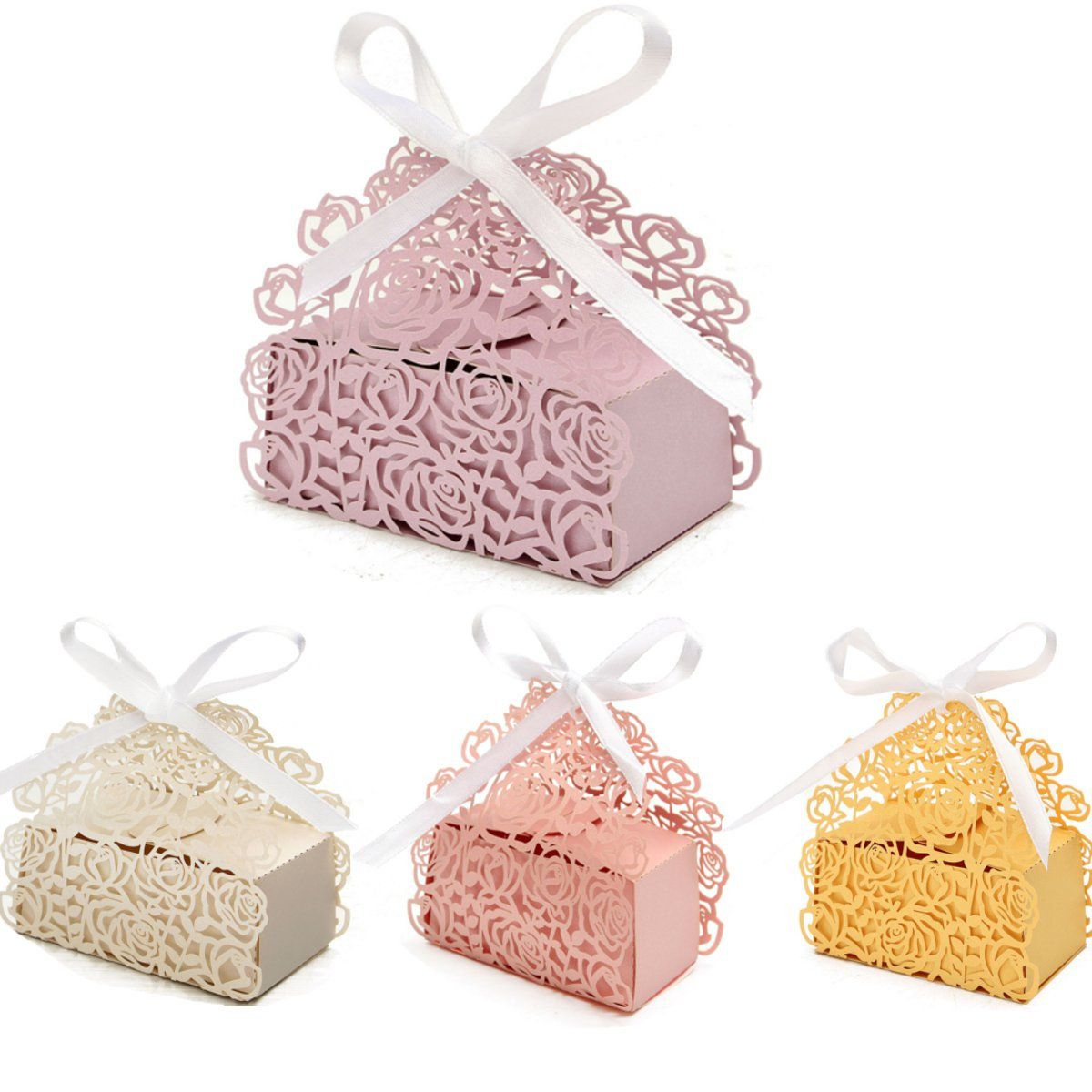 12 Pcs Lace Ribbon Rose Hollow Out Paper Candy Boxes Wedding Favors ...