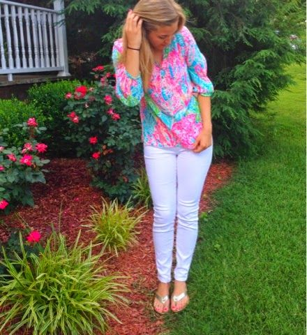 04708902ebd211 The Professional Prep: National Wear Your Lilly Day. Lilly Pulitzer Elsa top  in Let's Cha Cha.