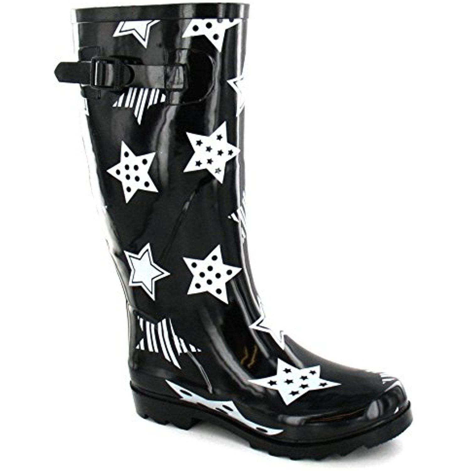 Womens/Ladies Rubber Star Print Wellington Boots