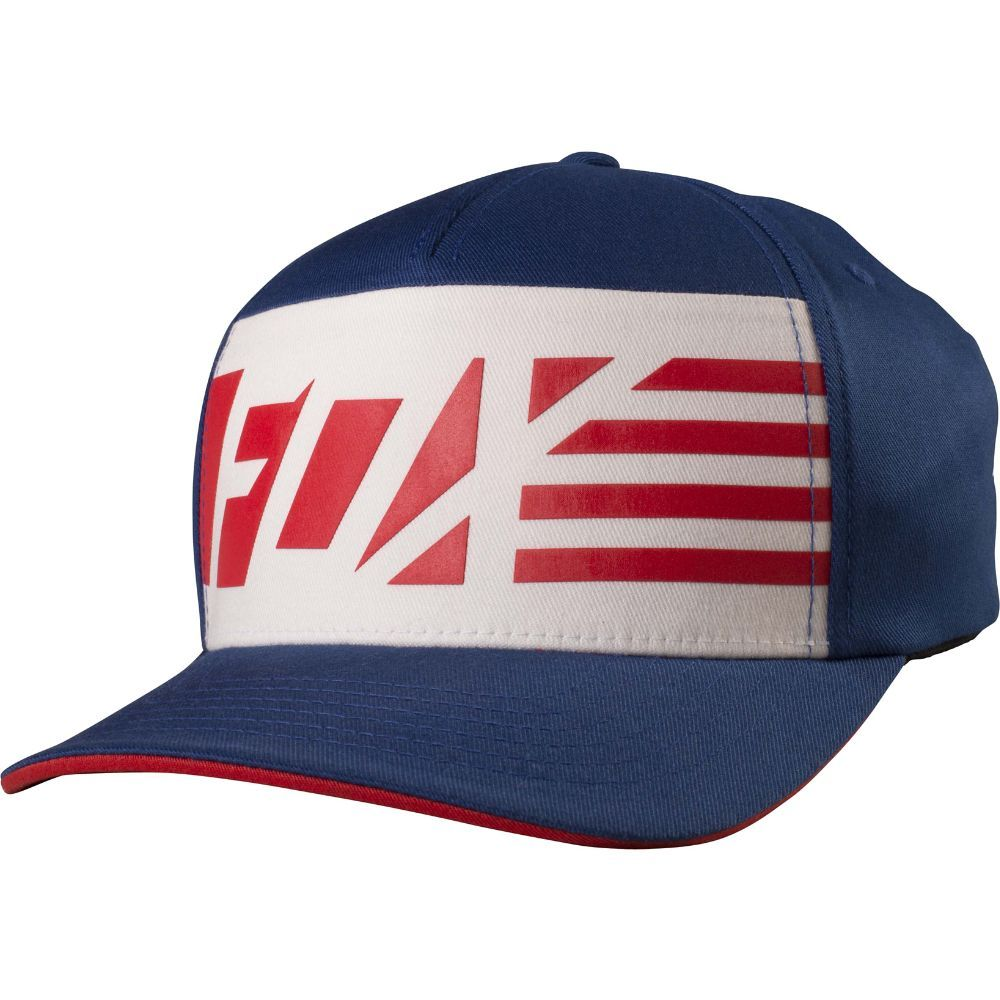 Fox Racing Men/'s Flag Head X Flexfit Hat American Flag Red White and Blue Logo