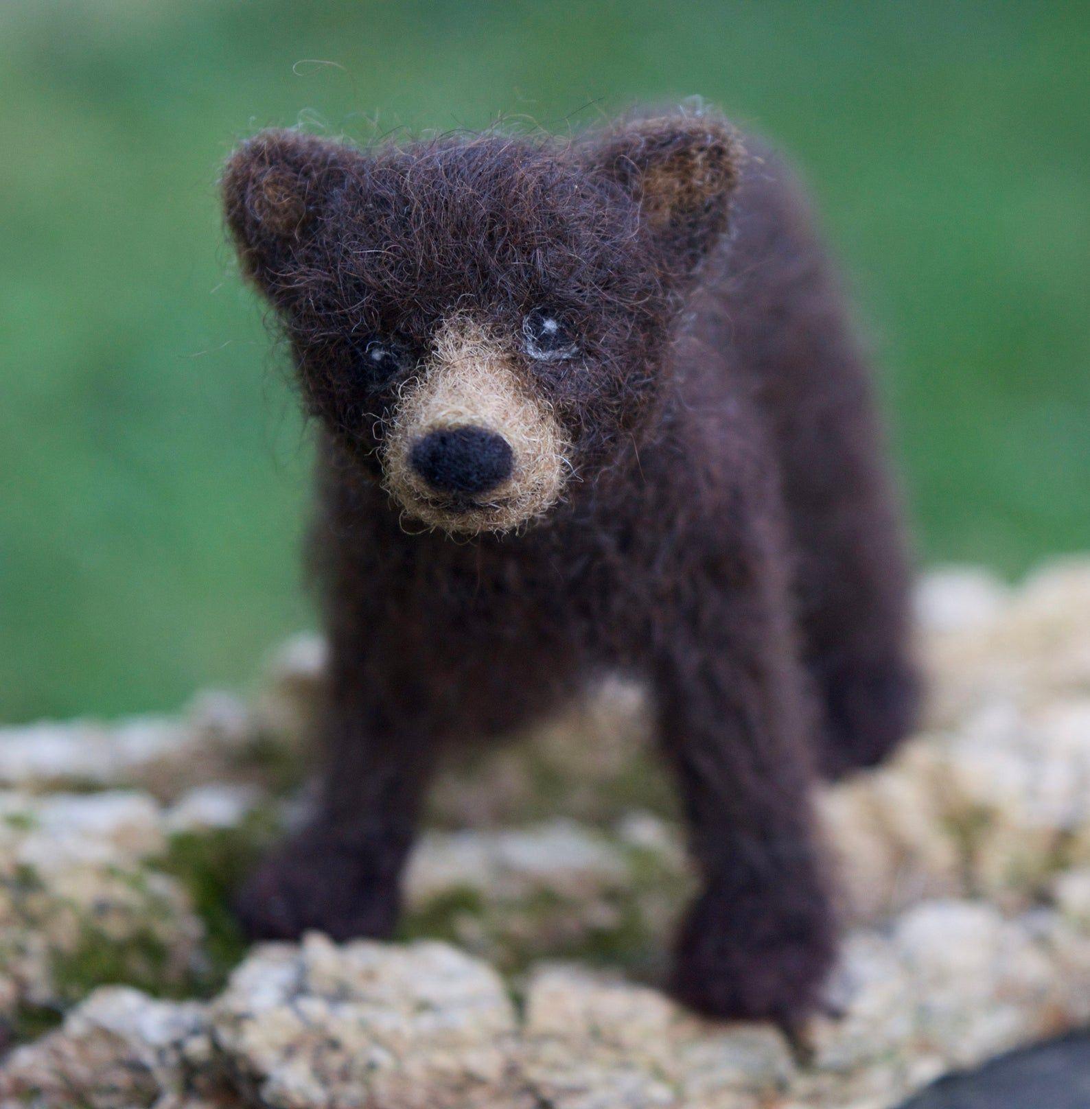Items similar to Needle Felted Black Bear Cub, Poseable, Baby Dark Brown Bear on Etsy #needlefelting