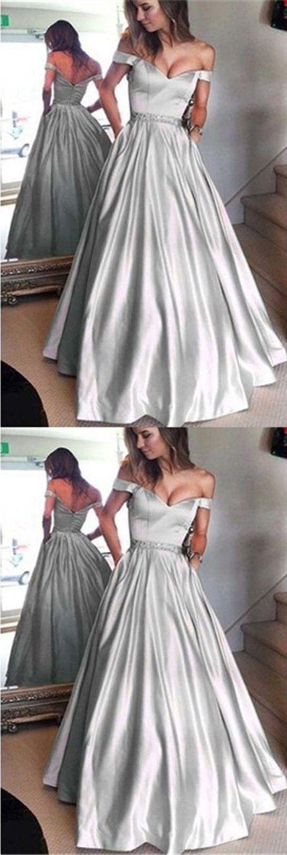 Silver satin off shoulder aline prom dresses zip up beaded long