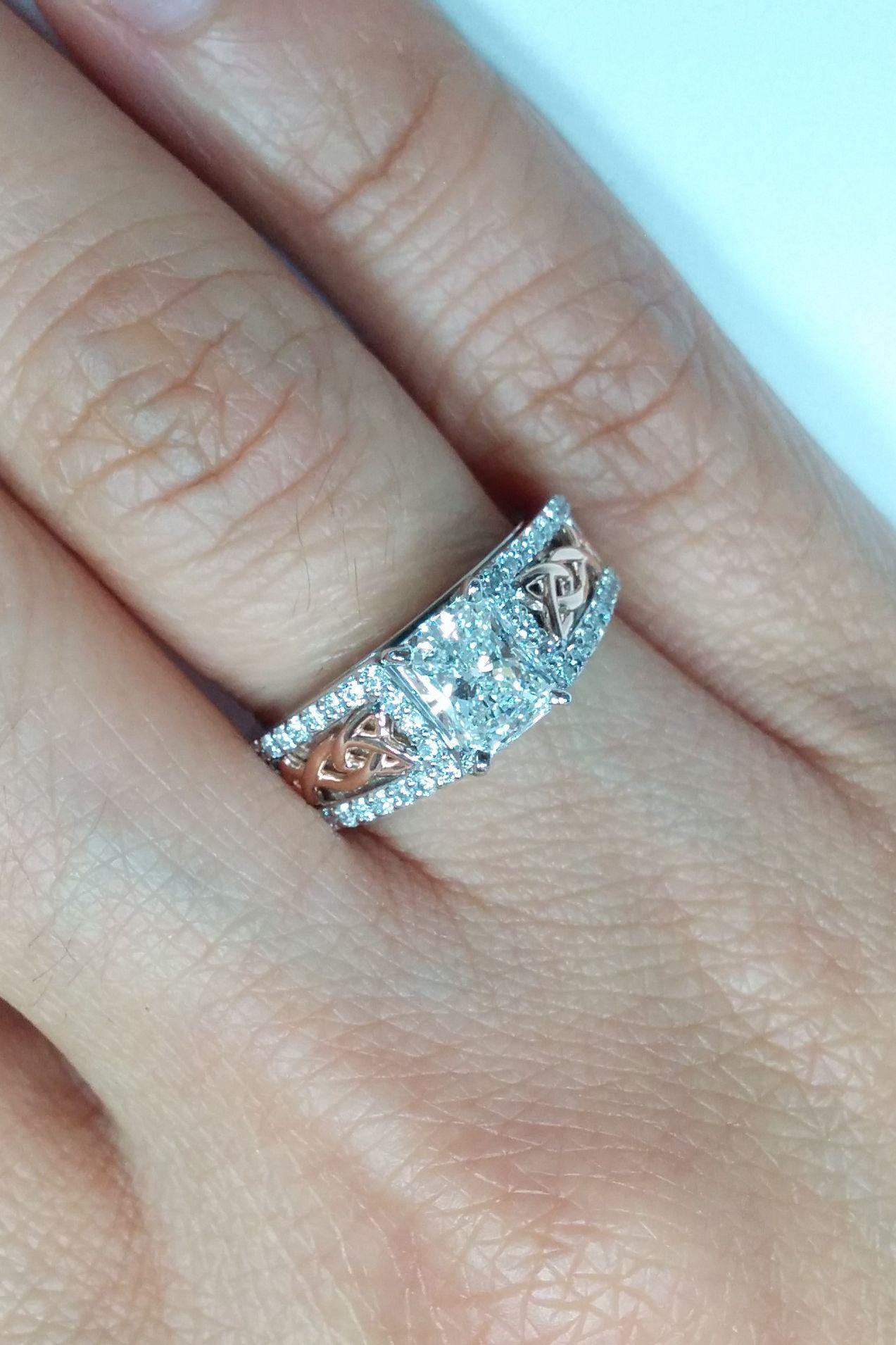 Engagement Ring Two Tone Celtic Knot Radiant Diamond Engagement