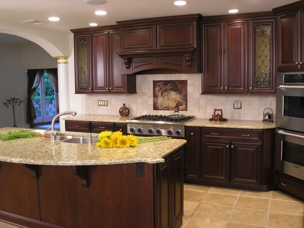 Best Cherry Cupboards With Light Granite Countertops Kitchen 400 x 300