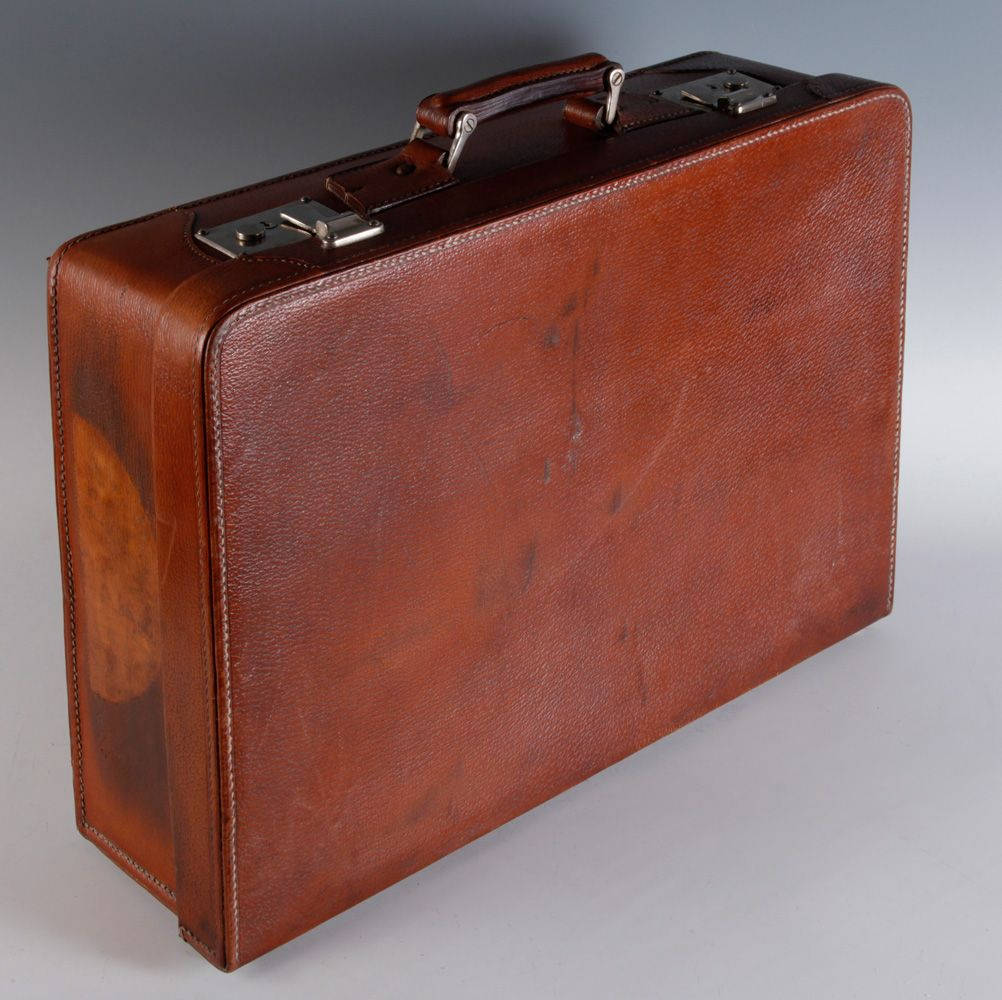 Maleta vintage hacia 1950 medidas 38 x 53 x 17 cm realizada en piel marr n estructura - Fijaciones para espejos ...