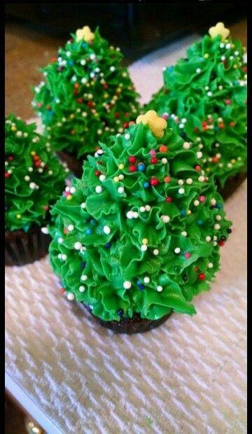 Christmas Tree Brownie Cupcakes