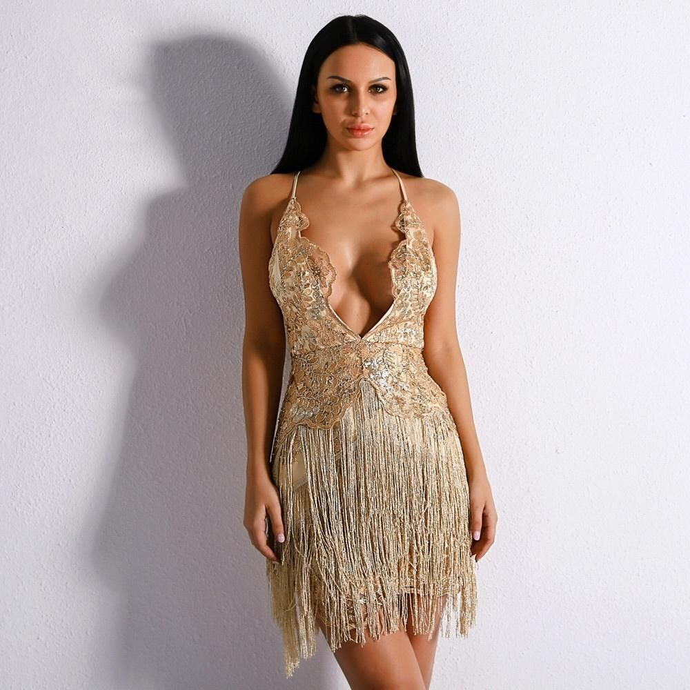 2f1927ca80 Channel ultra sophistication in this stunning fringe mini dress! Team this plunge  fringe mini dress with your highest heels and a clutch and you re good to  ...