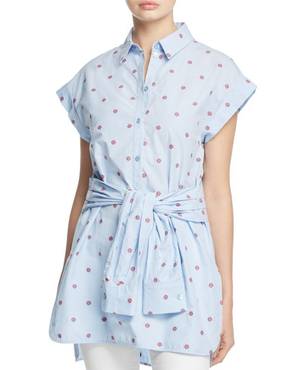 Blue cotton shirt with bows MOSCHINO BOUTIQUE Get To Buy Cheap Price 9P1NuU