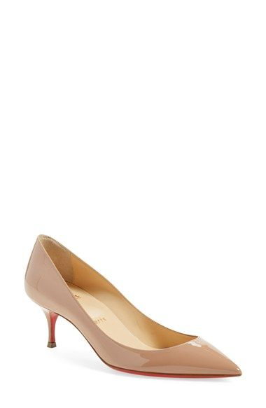 1e23f1865 Christian Louboutin 'Pigalle Follies' Pointy Toe Pump available at.  Obsessed with shoes.... Louboutin 55mm nude kitten heels. 💙