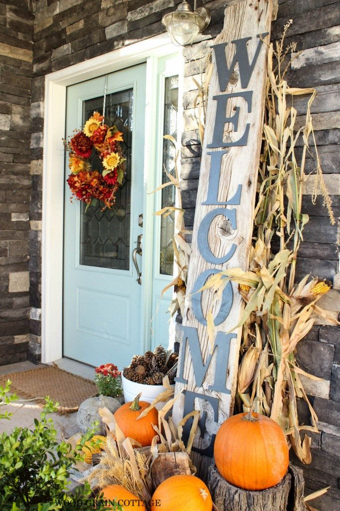 fall outdoor decorating ideas corn stalks front door