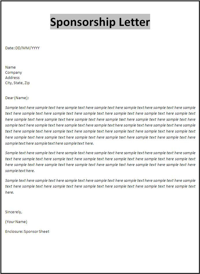 Sponsorship Letter Template Documents Pinterest Letter - format for sponsorship letter