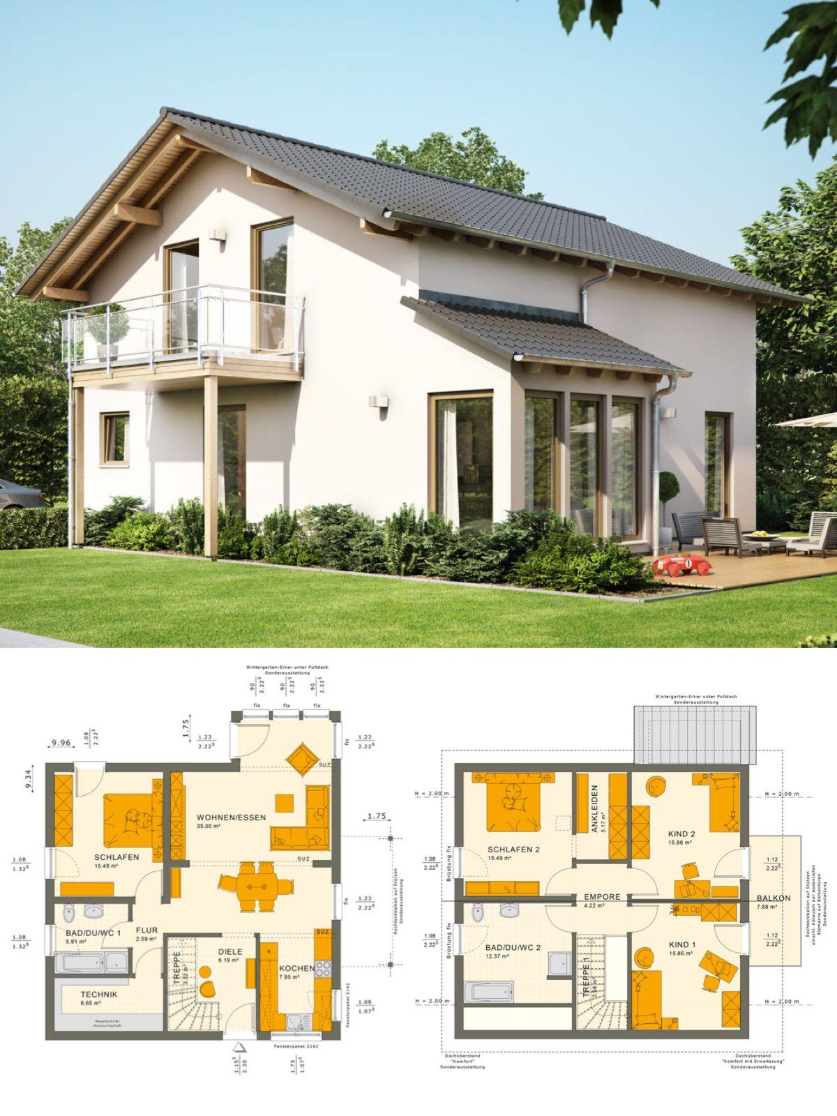 Klassische Einfamilienhaus Architektur mit Satteldach & Wintergarten ...