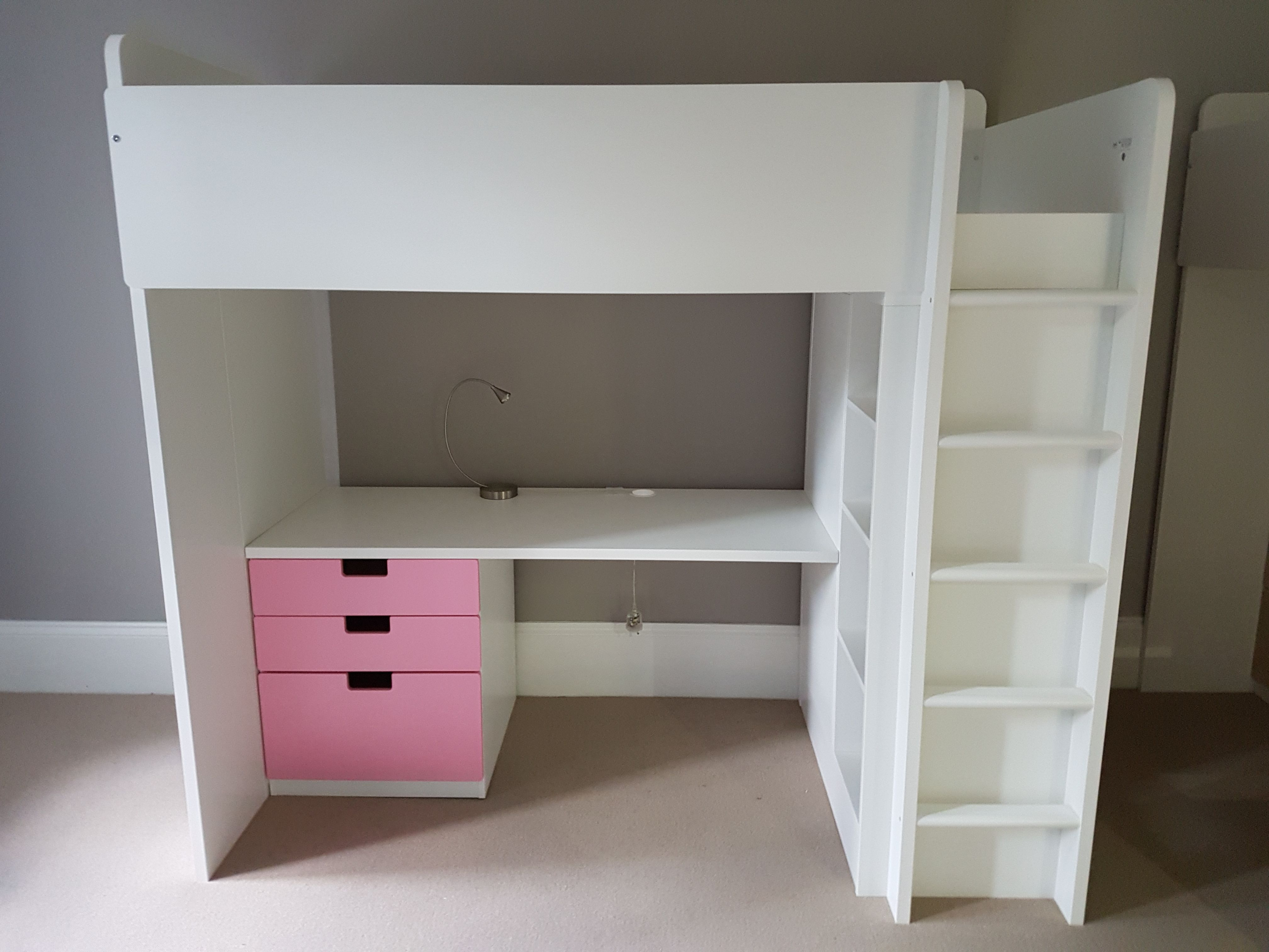 Solid Ikea Stuva loft bed with desk and 2 doors, very tall