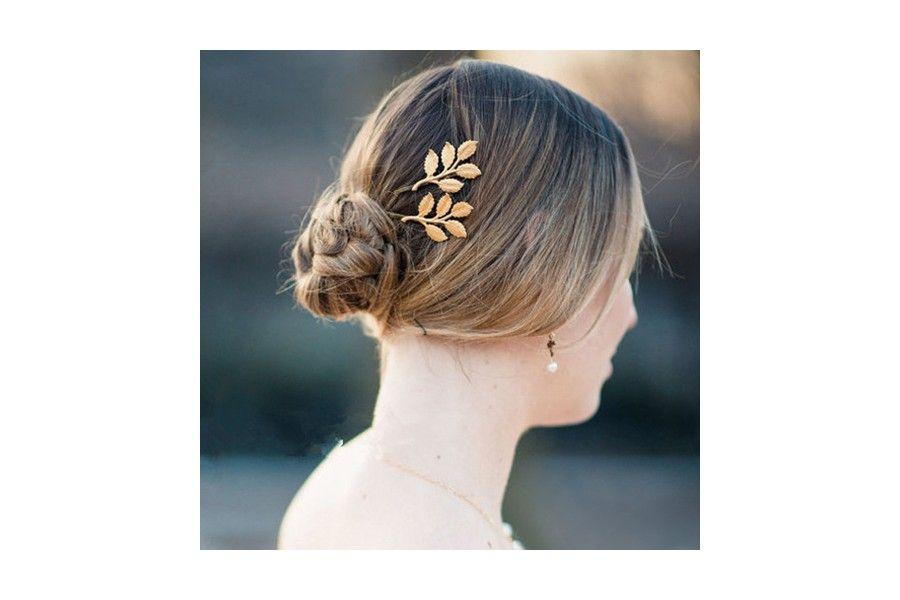 Pince cheveux feuille d'or Se coiffer avec une barrette