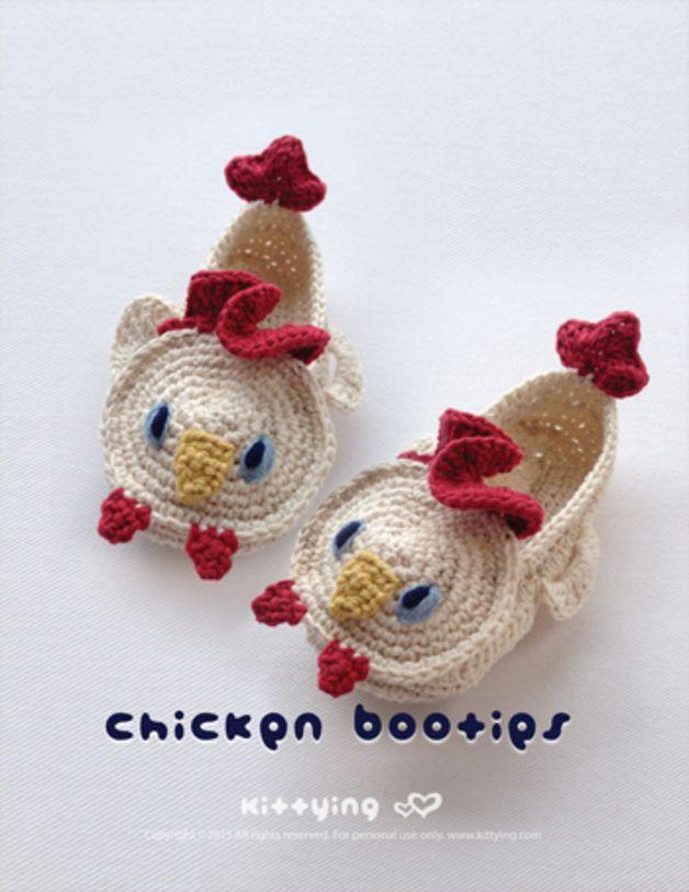 Huhn Kleinkind Booties Häkelmuster PDF made by Kittying Crochet ...