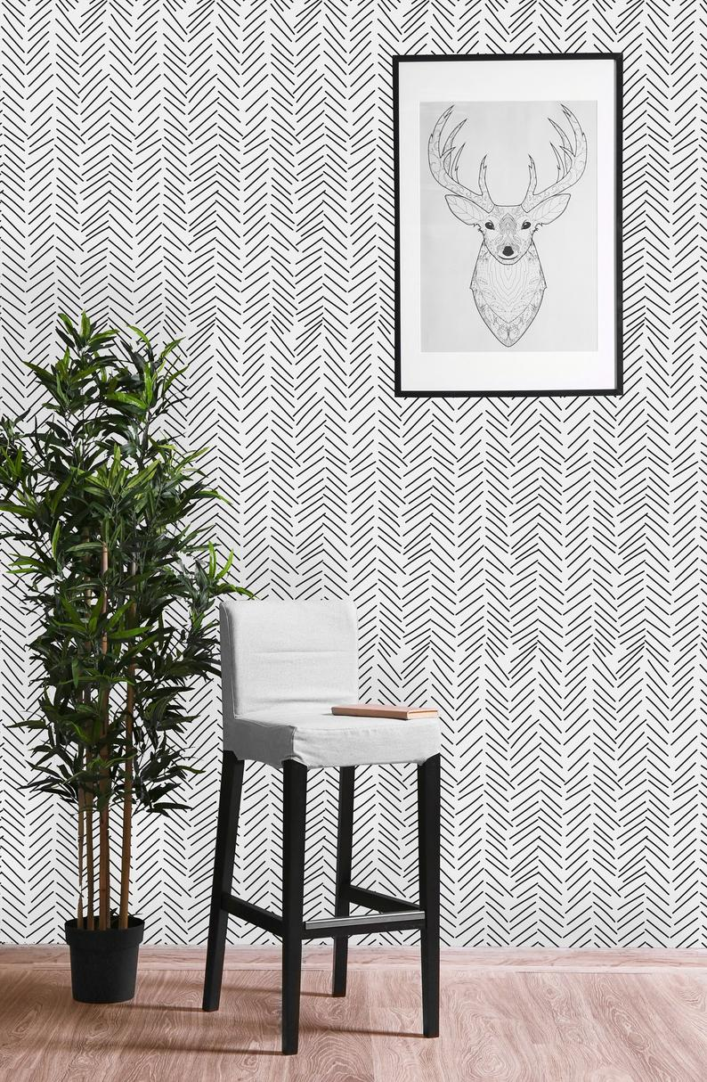 Black And White Geometric Sticks Removable Wallpaper Peel And Etsy Wall Wallpaper Self Adhesive Wallpaper Black And White Wallpaper