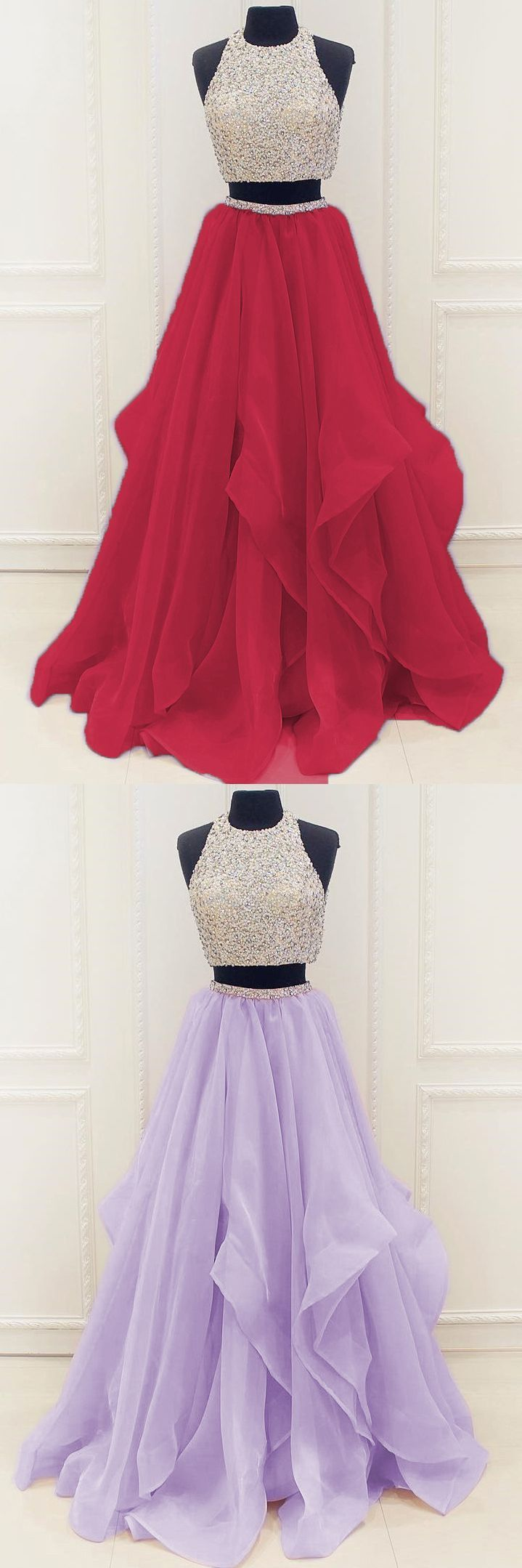 Two piece prom dress beading long prom dress elegant round neck