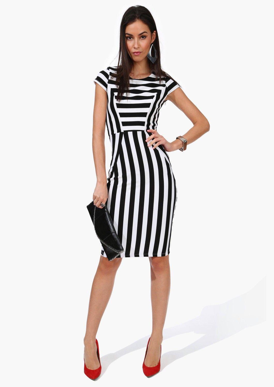 6fdec1a0e38 Striped Dress in Black and White