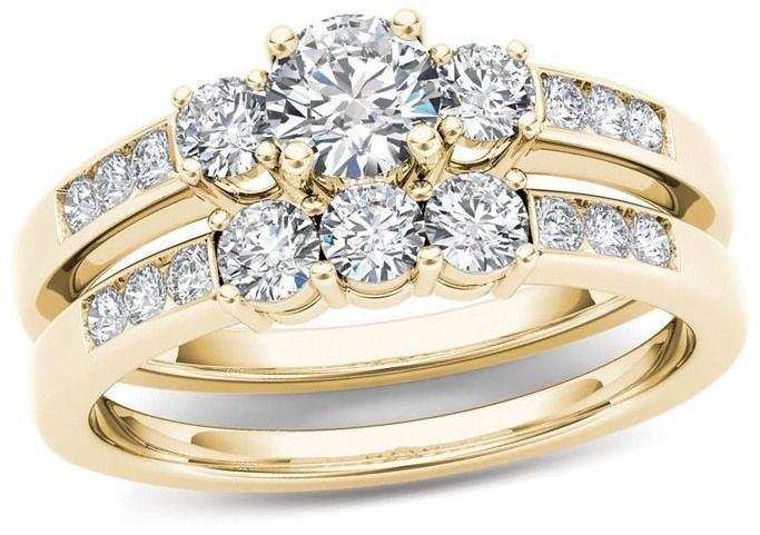 1 Ct T W Diamond Three Stone Bridal Set In 14k Gold Di