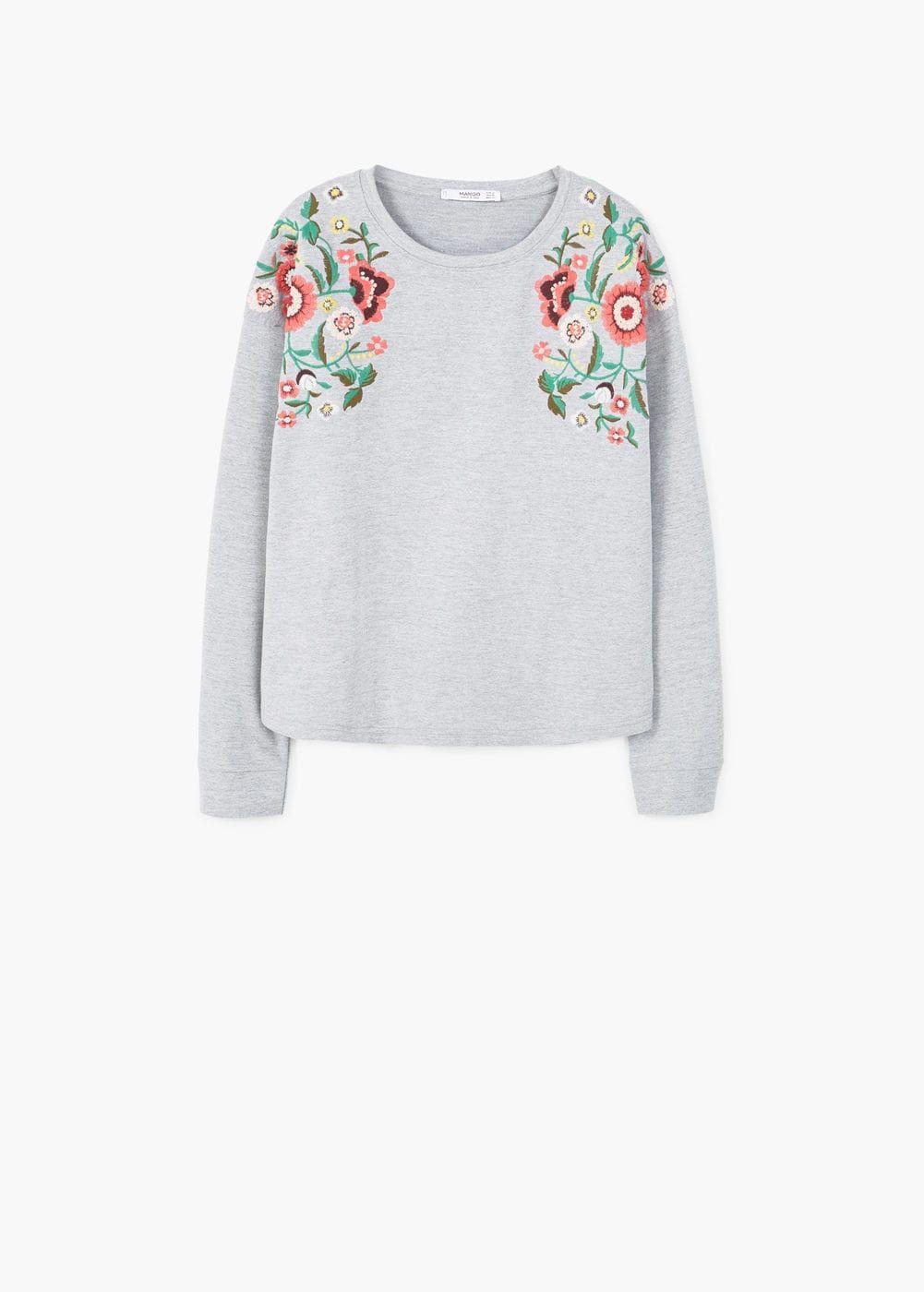 a8cea126fda0 Sweat-shirt broderie florale - Femme