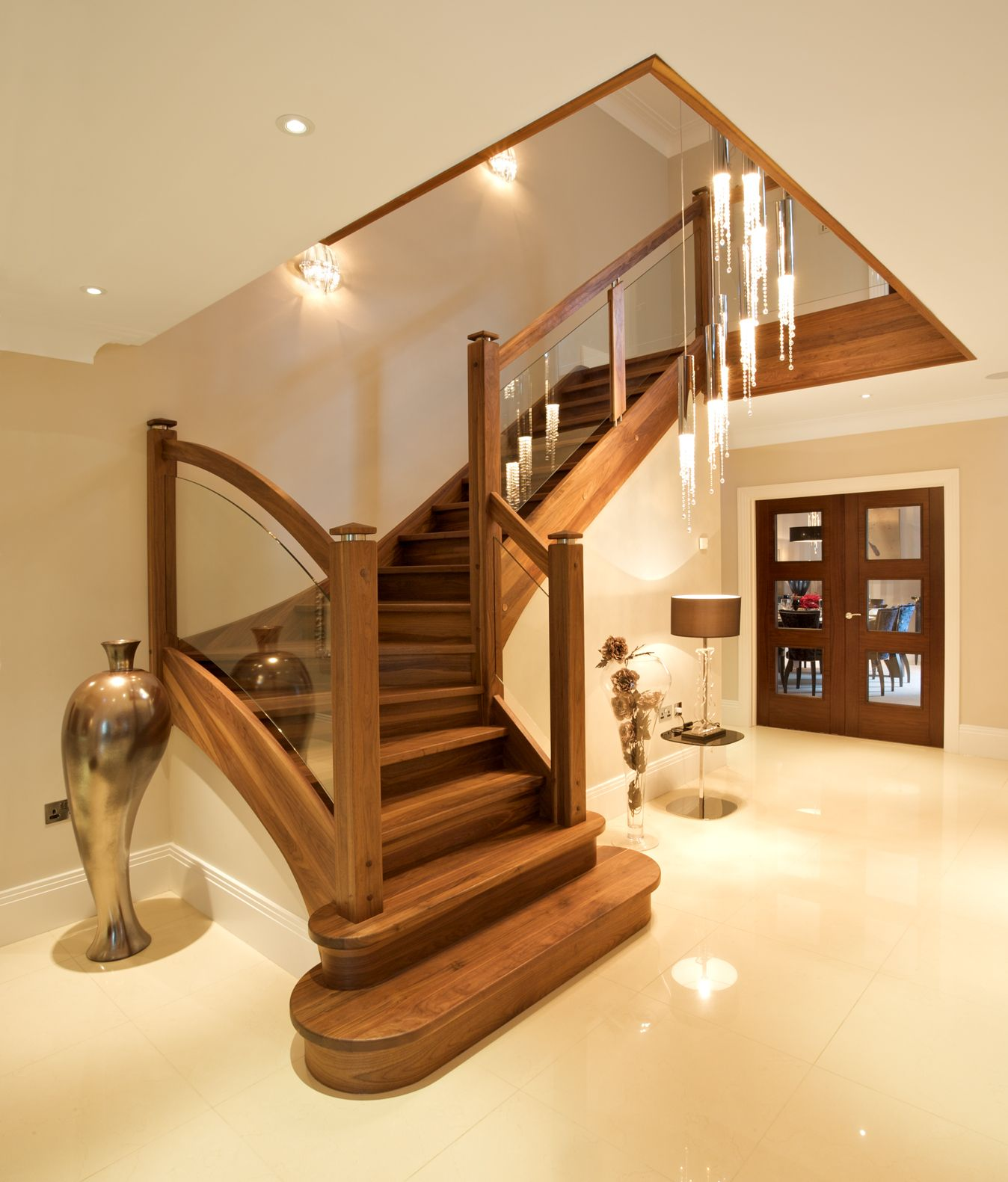 Walnut Staircase In Hallway With Walnut Doors And Porcelain Floor