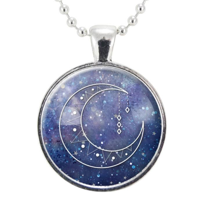 67d4a3f6326 Blue Crescent Moon Necklace  wiccan  goth  blue  nebula  wicca  galaxy   space  witchy  fullmoon  witch  moon  gypsy  crescentmoon