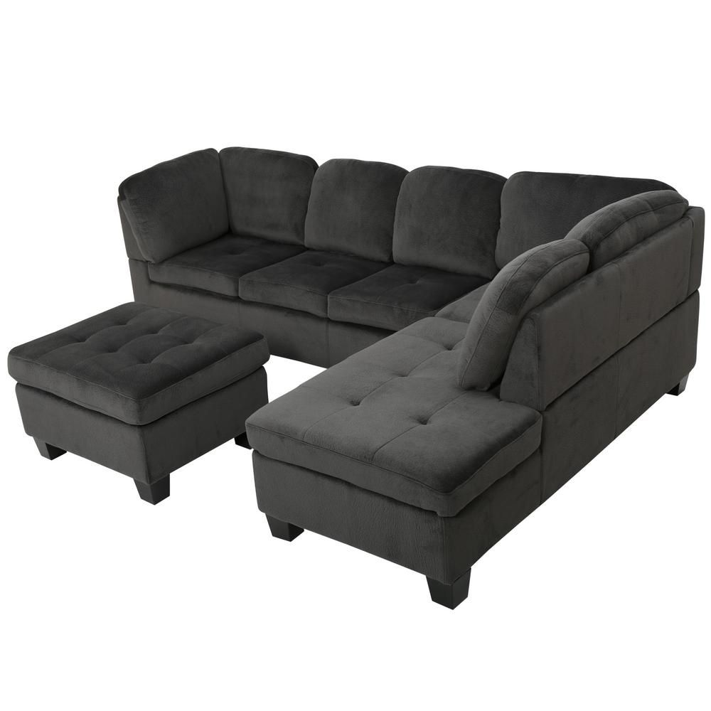 Noble House Presley Charcoal Fabric Sectional Set 7669 Fabric Sectional Sectional Sofa 3 Piece Sectional Sofa