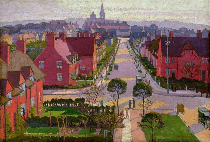William Ratcliffe Hampstead Garden Suburb From Willifield Way C 1914 C The Estate Of William Ratcliffe Artist British Art Perspective Art