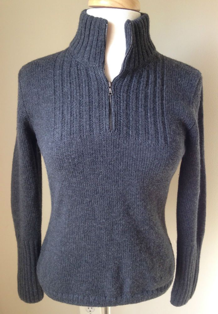 AUTHIER Charcoal Ski Sweater 1/4 zip Large 100% Wool Italy #Authier #14zip