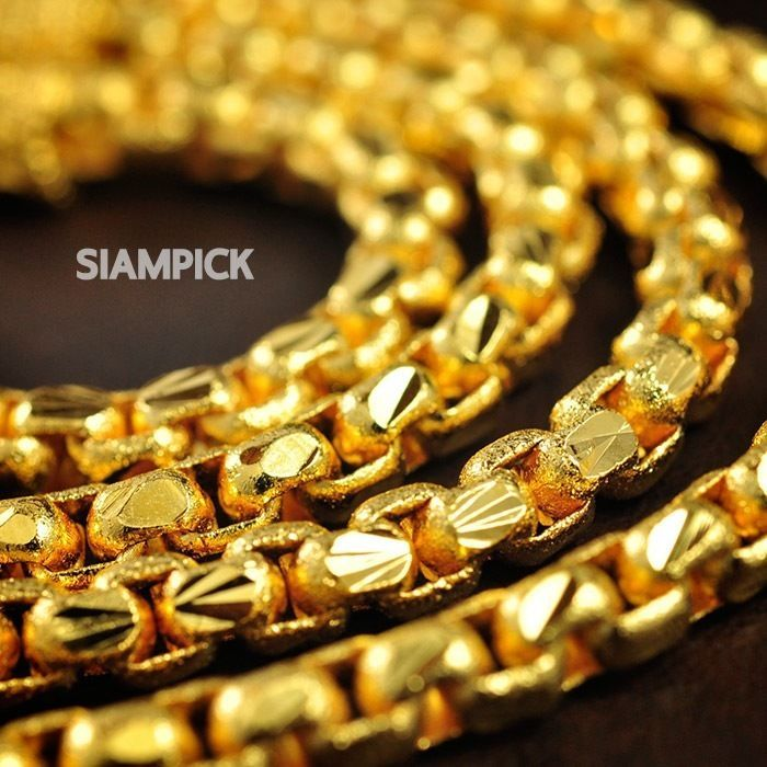 24 Inch 4mm 22k 24k Thai Baht Yellow Gold Plated Box Chain Necklace Unisex N008 24k Gold Necklace Gold Chains For Men Gold Plated Bracelets