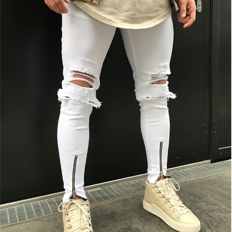 b4e23f9c608 White Skinny Jeans Men Stretch Zipper Ankle Hole Ripped Mens Jeans  Motorcycle Elastic Distressed Jogger Pants Biker  Affiliate