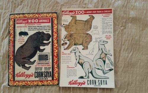 1940s Kelloggs Corn Soya Shreds Zoo Animal Cereal Box Cut Out Card Set Hippo - http://collectibles.goshoppins.com/advertising/1940s-kelloggs-corn-soya-shreds-zoo-animal-cereal-box-cut-out-card-set-hippo/
