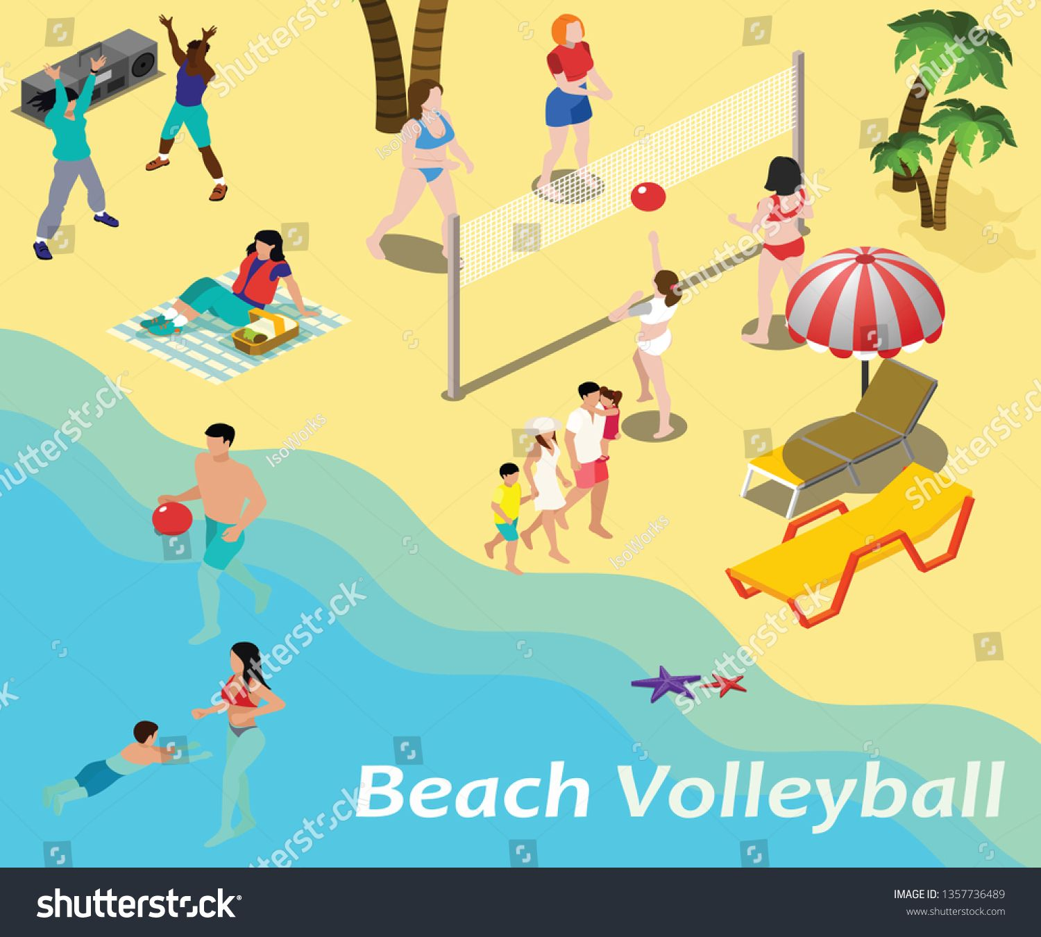 Isometric Artwork Concept Of Beach Volleyball Where Kids And Adults Are Playing Volleyball In Sand Ad Sponsored Beach Artwork Isometric Play Volleyball