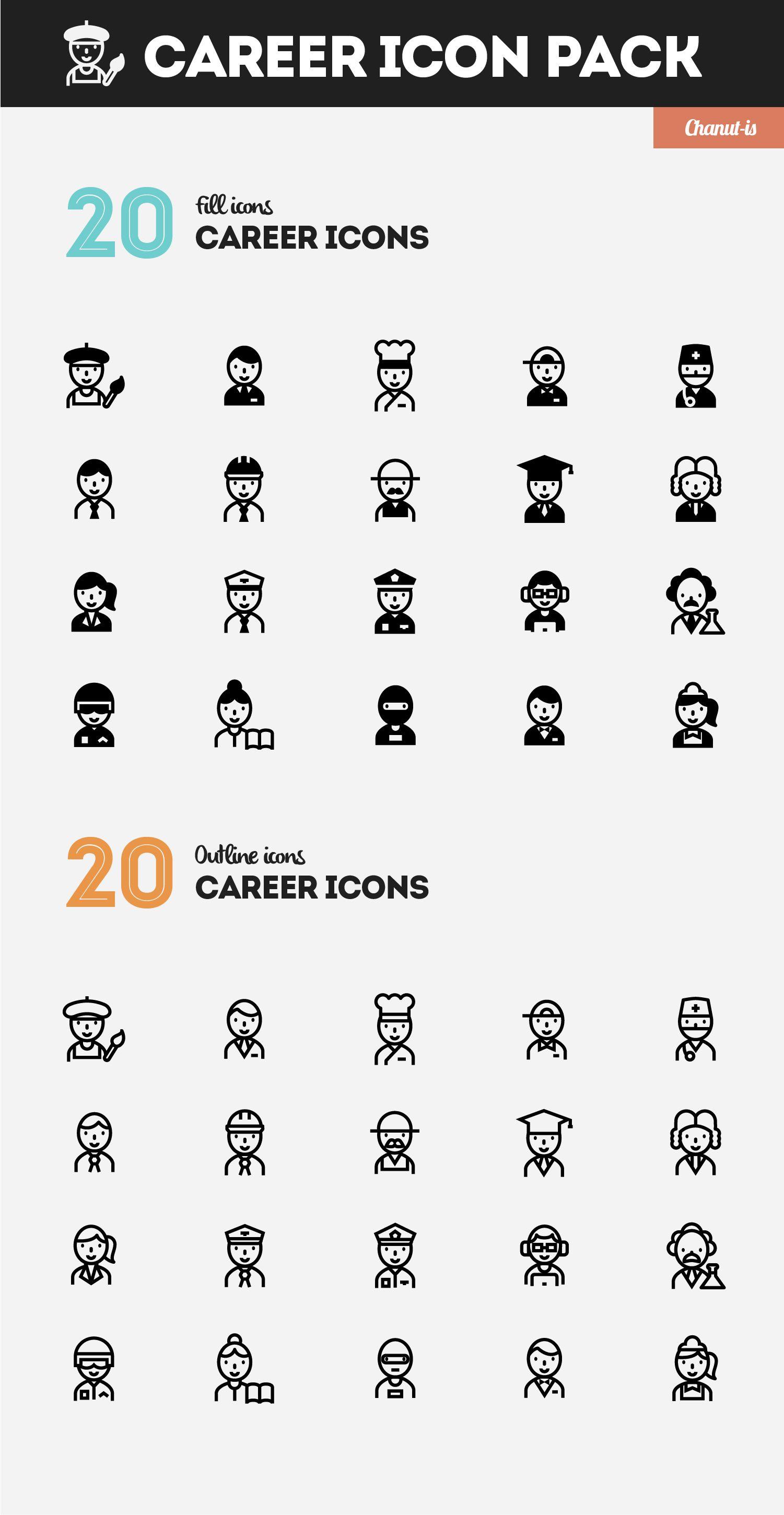Career icons pack by Chanutis Product on creativemarket