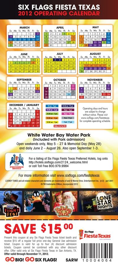 Six Flags Fiesta Texas Coupons Save 15 00 Per Person Six Flags Fiesta Texas Six Flags Calendar March