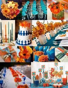 Pink, orange and blue wedding