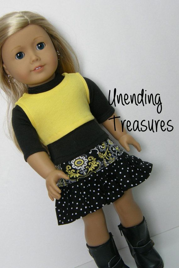 American Girl doll clothes, 18 inch doll clothes, black 3/4 length ...
