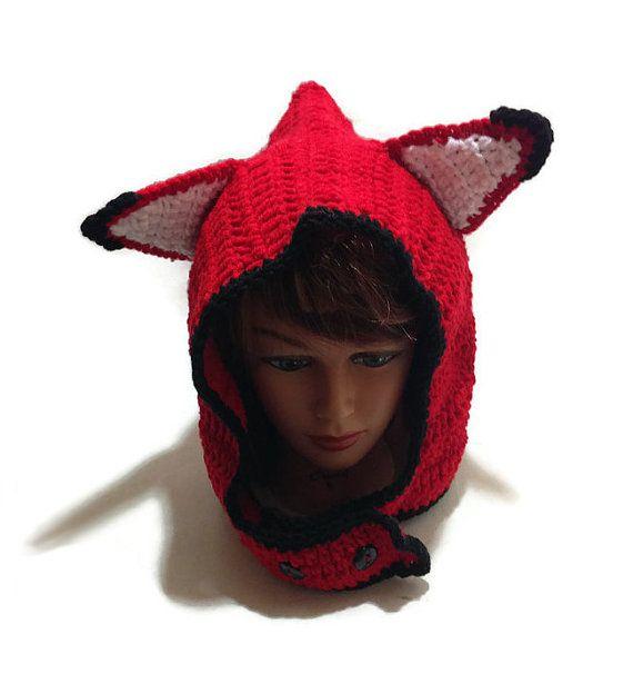 5f02feae518 Fox Hood Red Fox Hat Red Fox Hood Fox Cosplay by AddSomeStitches