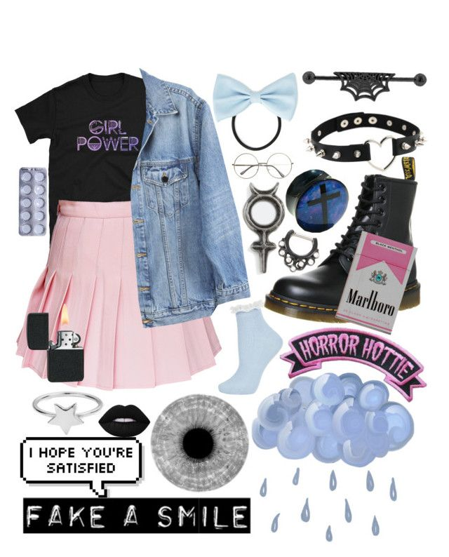 """Horror Hottie"" by pastelgothmoth ❤ liked on Polyvore featuring Rachel Entwistle, ChloBo, Topshop, Forever 21, Y/Project, Kreepsville 666, Lime Crime, Dr. Martens and Hot Topic"
